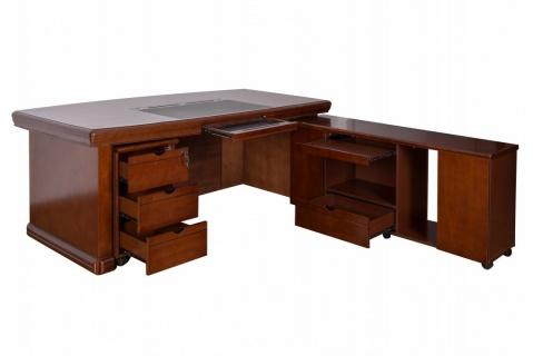 Birou directorial cu extensie WHS A-2405B, Nuc, 200cm, Lemn + MDF