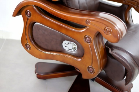 Scaun fotoliu directorial G-116A, lemn masiv, piele naturala, Maro